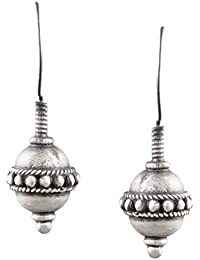 Ahilya Jewels 92.5 STERLING SILVER Round Light Drop Danglers