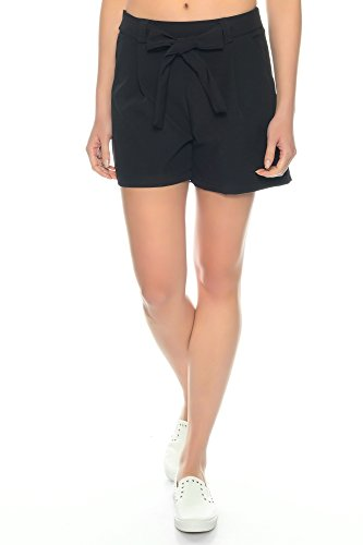 Dress Sheek Damen Elegante Kurze Hose | Crepe Sommer Shorts (Schwarz, M)