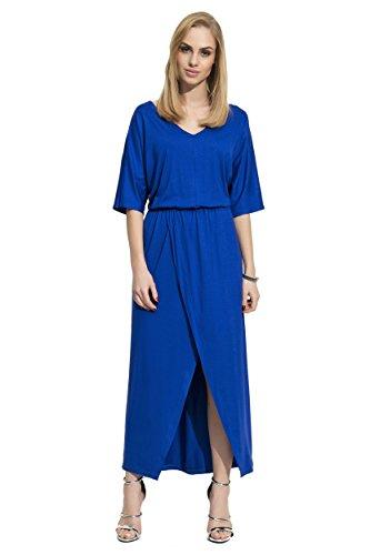Damen Kleid Locker Oversized Freizeitkleid Maxikleid mit Schlitz V-Ausschnitt Gr. S M L XL 36 38 40 42, F11 Blau
