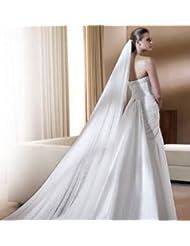 &huahua Hilado, novia, nupcial, boda accessories/manual/4*1.5m/Double capa/largo hilo/fuga alto grado/hermoso , white