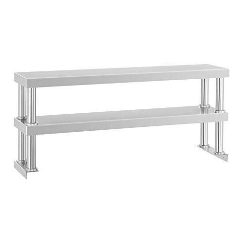 Royal Catering – Aufsatzboard Arbeitstisch (120 x 26 x 600 cm, 2 Ablagen, 2 x 15 kg Tragkraft, Edelstahl) Silber