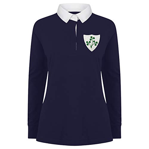 Damen Vintage Bestickt Irische Wappen Long Sleeve Irish Rugby Shirt aus Print Me A Shirt in Marine/Weiß Gr. Large, Navy-and-White