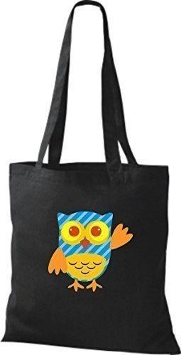 ShirtInStyle Jute Stoffbeutel Bunte Eule niedliche Tragetasche Owl Retro diverse Farbe, schwarz
