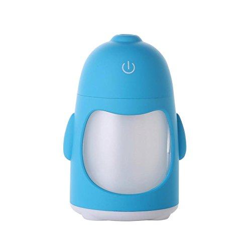 JQ Usb Mini Buntes Nachtlicht Pinguin Luftbefeuchter Saubere Luft Kreative Hausbefeuchter,Blau