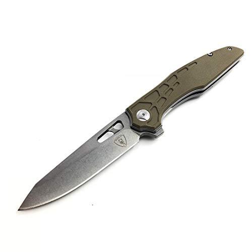 AUBEY EDC Messer Klappmesser Einhand Taschenmesser Outdoor Survival D2 Stahl mit Flipper Einhandmesser mit Clip Folder Pocket Knife G10 Griff(Grau) -