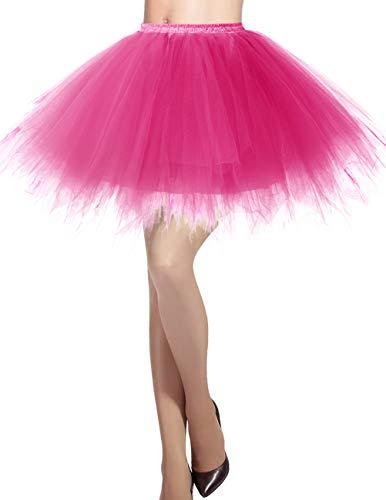 Dresstells Damen Tüllrock 50er Rockabilly Petticoat Tutu Unterrock Kurz Ballett Tanzkleid Ballkleid Abendkleid Gelegenheit Zubehör Fuschia M