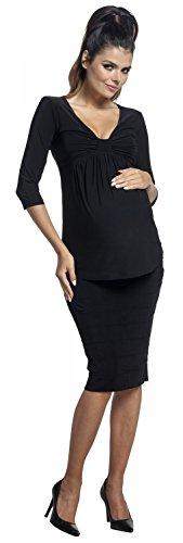 Zeta Ville - Top soyeux de grossesse col en V buste noeud devant - femme - 153c Noir