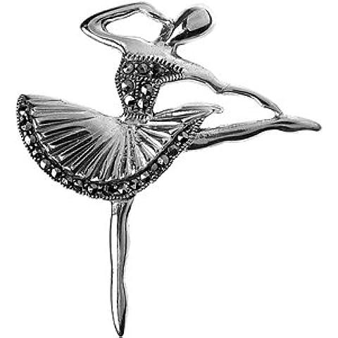 Argento 925Sterling, Marcasite Svizzera dettagliate Ballerina Spilla