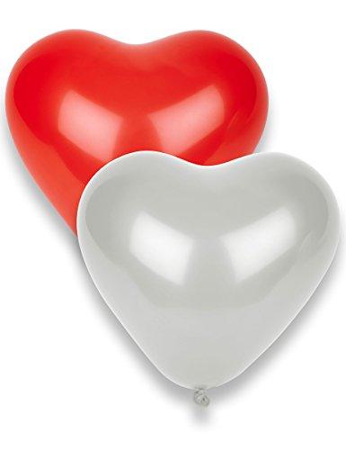 8 globos de corazón rojos y blancos