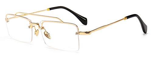 Sonnenbrille,Retro, Rechteckige Sonnenbrille Männer Metall Rahmen Gold Braun Rot Halb Randlose Quadrat Sonne Gläser Für Sommer Männer Frauen Gold Mit Klaren