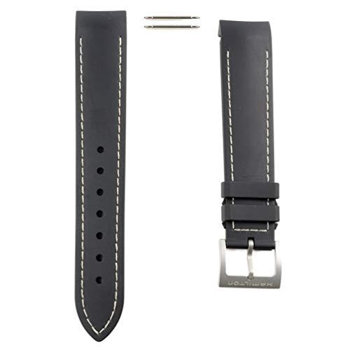 Kautschukband schwarz mit weißer Steppnaht Uhr Hamilton Khaki Air Chrono/Sub/King Scuba H600.745.100
