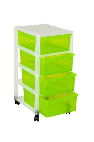 Ordnung in Büro, Haushalt & Spielzimmer! Multifunktionaler Rollwagen mit vier gleich großen Schubladen. Schubladen in peppigem Apfel Grün! Mit vier leichtängigen Rollen – SUPER!