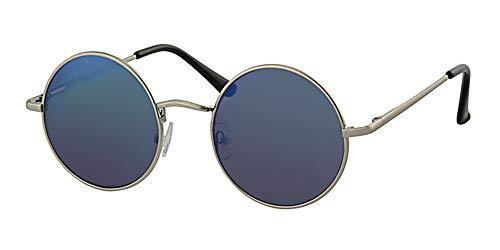 Runde Sonnenbrille mit Federscharnier-Bügeln, gelbem Halsband, blau verspiegelten Gläsern und silbernem Metallrahmen.