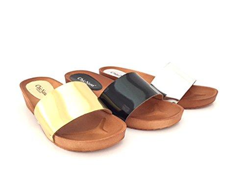 CHIC NANA . Chaussure Femme Mode Sandales Mules Compensées Vernis.