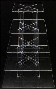 5 Tier Square Acrylic Cup Cake Party Wedding Stand - TK5SQU
