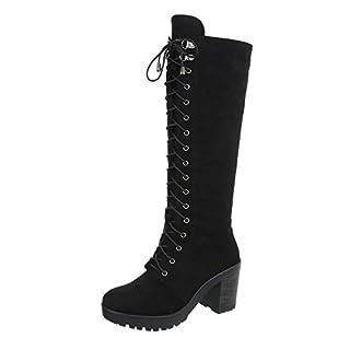 Ital-Design Schnürstiefel Damen-Schuhe Schnürstiefel Blockabsatz Schnürer Reißverschluss Stiefel Schwarz, Gr 39, Ae81P-