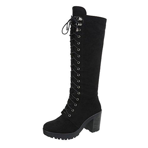 Ital-Design Schnürstiefel Damen-Schuhe Schnürstiefel Blockabsatz Schnürer Reißverschluss Stiefel Schwarz, Gr 37, Ae81P-