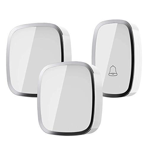 Campanello senza fili impermeabile, wireless doorbell con raggio d'azione 300m, indicatore led, 1 trasmettitore pulsante e 2 ricevitori con spina incorporata, 36 suonerie, 4 volume regolabile(bianco)