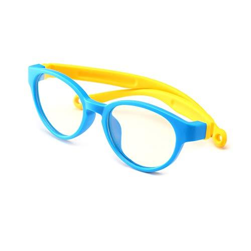 (Hibote Mädchen Jungen Anti Blaulicht Brillen - Silikon - Klare Linse Gläser Rahmen Geek/Nerd Brillen mit Auto Form Brillenetui - 18083004)