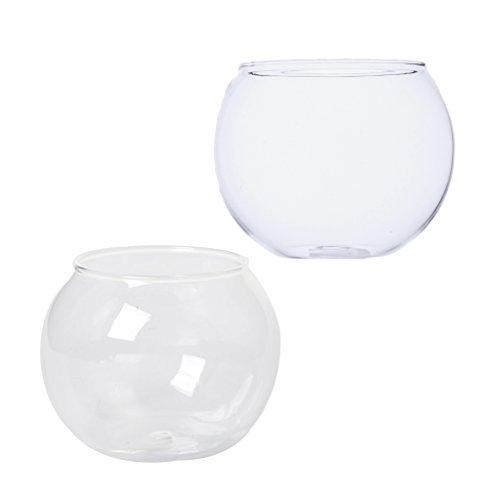 Homyl 2er-Set Transparente Kristallglasschale Klar Kugel Vase