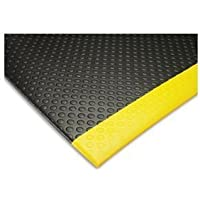 """NoTrax 417 Bubble Sof-Tred Safety/Anti-Fatigue Mat with Dyna-Shield PVC Sponge, for Dry Areas, 2' Width x 3' Length x 1/2"""" Thickness, Black/Yellow by NoTrax"""