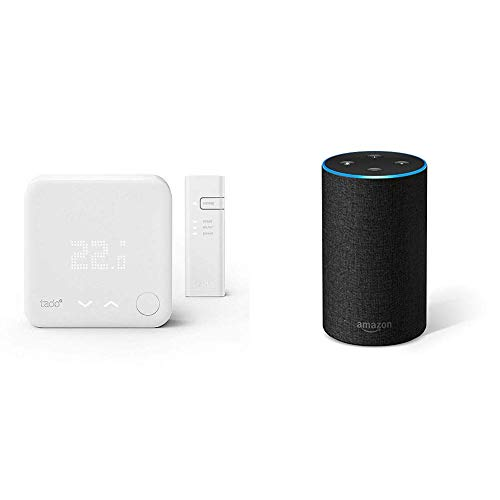 Echo tessuto antracite + Tado° Termostato Intelligente Kit di Base V3+ - Gestione intelligente del riscaldamento, compatibile con Amazon Alexa, Apple HomeKit, Assistente Google, IFTTT