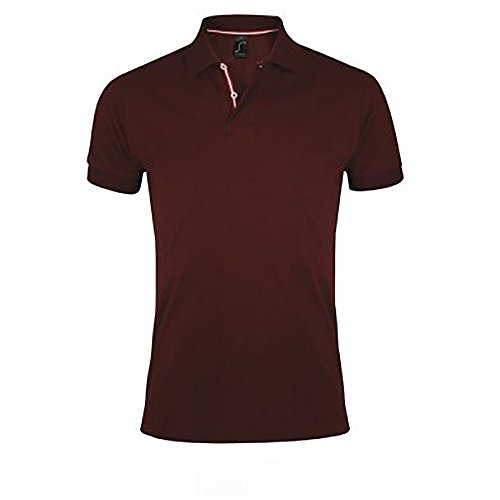 SOLS Herren Patriot Pique Kurzarm Polo Shirt Burgunder