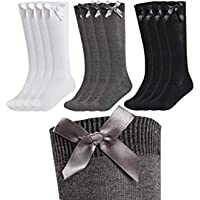 3 Pairs Of Girls Bow Knee High Socks, White Grey Black Navy Knee High School Socks With Ribbons Bows
