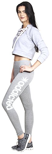Loomiloo Addicted Mariuhana Weed Leggings Yoga Pants Hosen Training Workout Statment Print Aufdruck Neues Modell Squat Fitness Sport Hellgrau / Weiß M/L (Hanf-yoga-hosen)