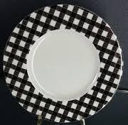 Teller Wandbild aus feinem Porzellan Farbe schwarz Durchmesser 28cm