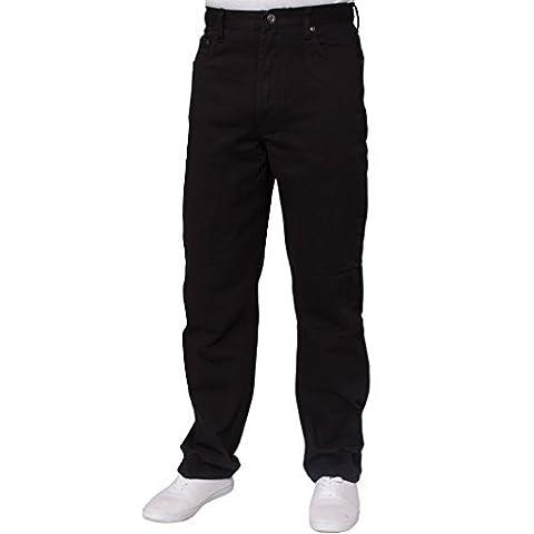 New Mens Straight Leg Basic Heavy Work Jeans Denim Pants All Waist Big Sizes 44W X 30L Black