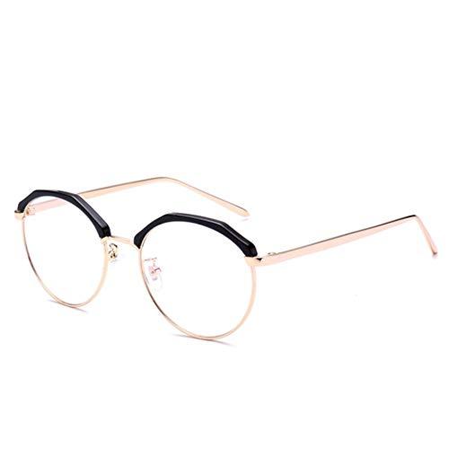 GSAYDNEE Brille Trendige runde Brille ohne Brille für Damen, Herren (Color : Pink)