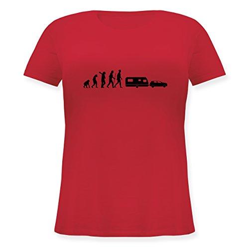 Evolution - Evolution Camper Wohnwagen - Lockeres Damen-Shirt in Großen Größen mit Rundhalsausschnitt Rot