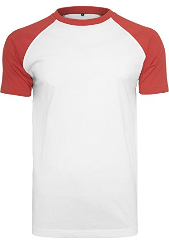 BLUE RAVEN Herren Baumwoll T-Shirt in Kontrastfarben White-Red