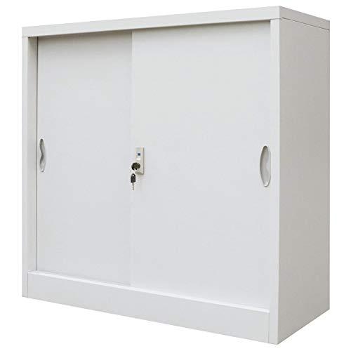 Vidaxl armadio ufficio porte scorrevoli metallo 90x40x90 cm grigio schedario