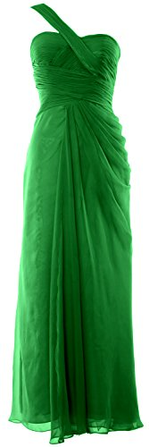 MACloth Women One Shoulder Long Evening Gown Wedding Party Formal Prom Dress Green