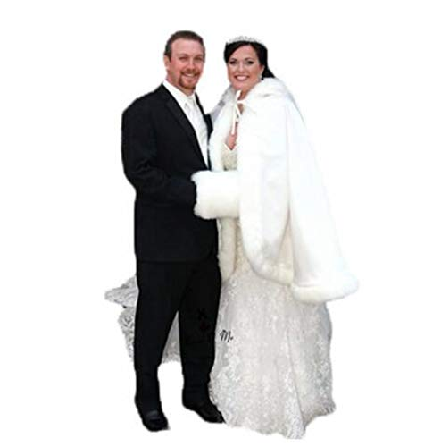 meibida Brautmantel Hochzeit Jacke Winter Warm Schal Braut Schal mit Kapuze Kurze Jacke (Weiß)