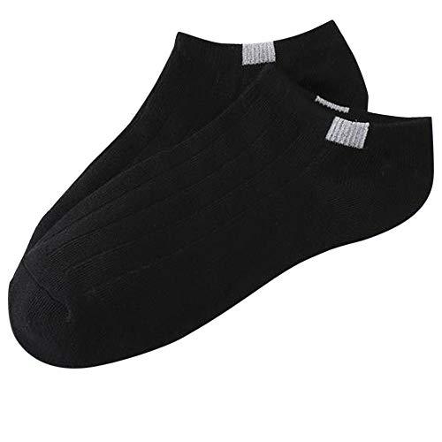 Lässige Bequeme Socken Mode Lange Strümpfe Unisex-Socken, Mode Baumwolle Label No Show Flats Invisible Low Cut Socke Knöchel Kurze Socken (Farbe : Black, Größe : 1Pair) -