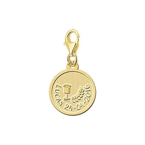 r Goldner Anhänger zur Kommunion aus 14 Karat Gelbgold (585) mit Motiv Wein und Getreide und kostenloser Gravur mit bis zu 22 Zeichen ()