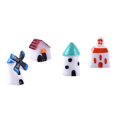FLAMEER 4 Stücke Miniatur Haus Figur Für Fee Gartenpflanze Pot Terrarium Ornamente -