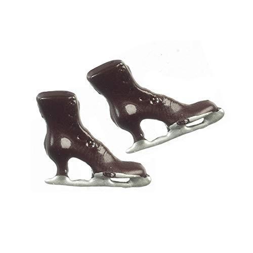 Melody Jane Casa de Muñecas Victoriano Mujer Marrón Patines de Hielo Zapato Miniatura Tienda Accesorio