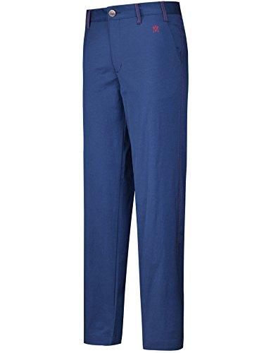 Lesmart Herren Golf Hosen Gerade Long Flat Vordertaschen Solid Slim Fit Größe 32 Marine Blau M Logo