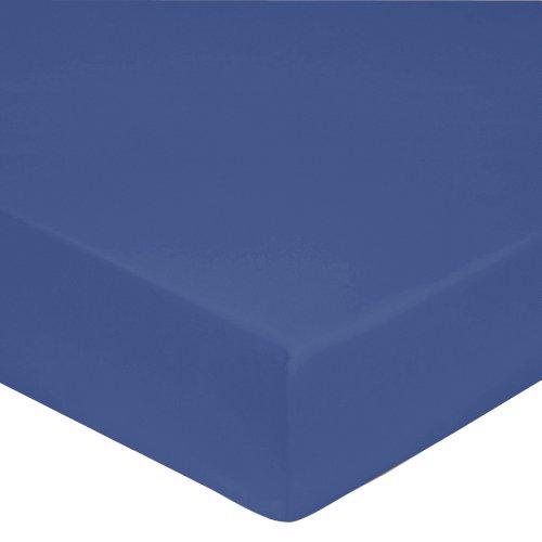 Blanc Des Vosges Uni Perkal Spannbettlaken Baumwolle blau royal 160x 200cm - Teint-behandlung