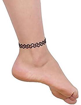 3 x Henna Tattoo Fußkette schwarz| Schmuck Kette | Henna Vintage Fußkette