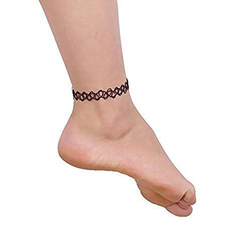 Beyond Dreams® 3 Tattoos Fußkette für Frauen | Fusskettchen Henna Choker Kette | Fuß Schmuck Damen | 90er Schwarz Hippie Boho Ketten | Hochzeit Gotik Party Accessoires Fußkettchen Teenager Mädchen