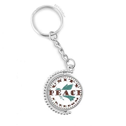 DIYthinker Olive Branch Friedens Freiheits-Symbol Drehbare Schlüsselanhänger Ringe 1.2 Zoll x 3.5 Zoll Mehrfarbig -