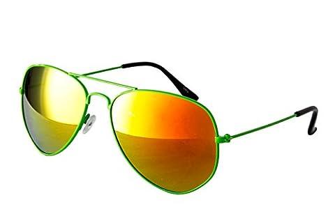 EL-Sunprotect® Pilotenbrille Fliegerbrille Sonnenbrille Brille Top Design Neon Grün Feuer Verspiegelt