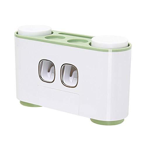 Augneveres Zahnpasta-Halter Zahnpasta-Spender mit Wandhalterung Zahnbürstenhalter Multifunktions-Zahnbürstenhalter Set für Badezimmer Zubehör grün