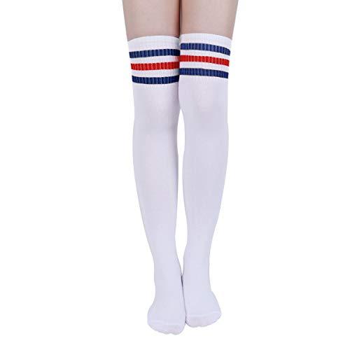 Kodior Damen Kniestrümpfe - 2/3 Streifen Kniestrümpfe Thigh High Socks Overknee Strümpfe Elastisch Fußball Lange Socken Unisex Sportsocken Baumwollstrümpfe (Blau-Rot)