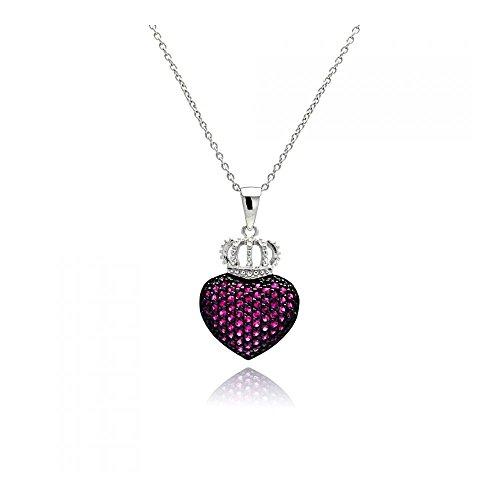 Rhodium beschichtet Sterling Silber rosa Zirkonia Herz CReihenn Anhänger mit Halskette (10k White Gold Rosa Herz Ring)